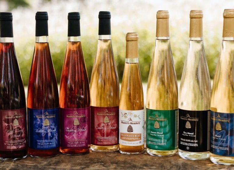 Lineup of Munro Honey branded mead bottles